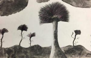 A drawings of five trees on a landscape